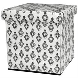 Oriental Furniture Damask Storage Ottoman in White