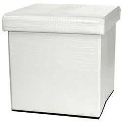 Oriental Furniture Faux Leather Storage Ottoman in White