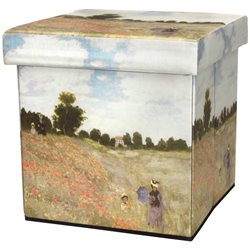 Oriental Furniture Monet Poppies Storage Ottoman