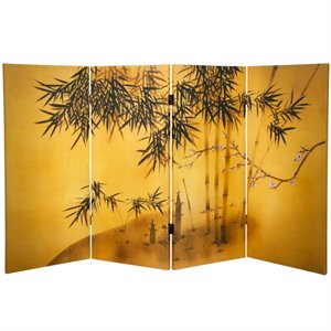 Oriental Furniture 3' Tall Bamboo Tree Canvas Room Divider