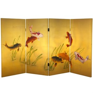Oriental Furniture 3' Tall Seven Lucky Fish Canvas Room Divider