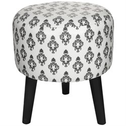 Oriental Furniture Damask Stool in White