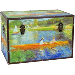 Oriental Furniture Faux Leather Renoir The Seine Trunk