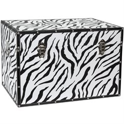 Oriental Furniture Faux Leather Zebra Trunk