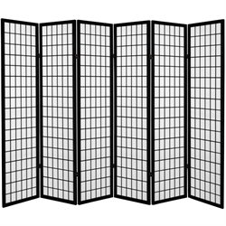 6' Tall Canvas Window Pane Room Divider in Black