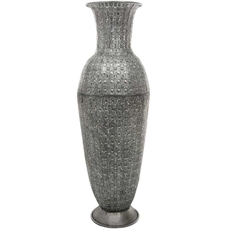 Oriental furniture large fluted decorative vase in wrought for Oriental vase and furniture