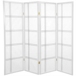 Oriental Furniture Four Panel Double Cross Shoji Screen in White