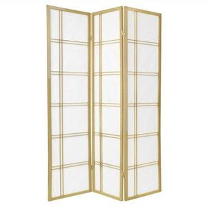 Oriental Furniture Three Panel Double Cross Shoji Screen in Gold
