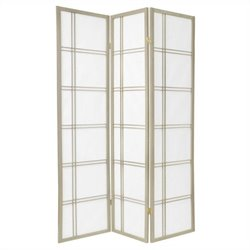 Oriental Furniture Three Panel Double Cross Shoji Screen in Grey