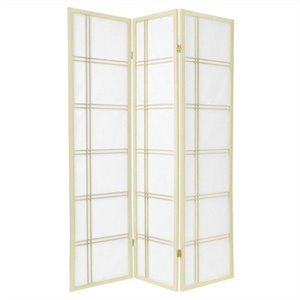 Oriental Furniture Three Panel Double Cross Shoji Screen in Ivory