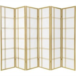 Oriental Furniture Six Panel Double Cross Shoji Screen in Gold