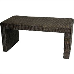 Oriental Furniture Rush Grass Coffee Table in Black