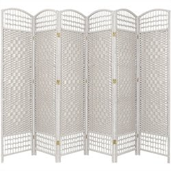 Oriental Furniture Six Panel Fiber Weave Room Divider in White