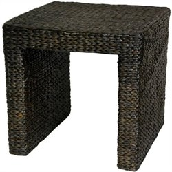 Oriental Furniture Rush Grass End Table in Black