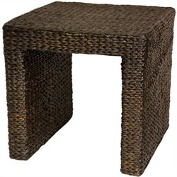 Oriental Furniture Rush Grass End Table in Red Mocha