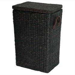 Oriental Furniture Rush Grass Laundry Basket in Black