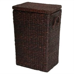 Oriental Furniture Rush Grass Laundry Basket in Red Mocha