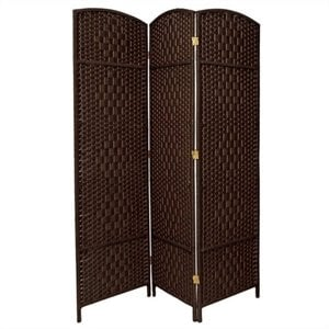Three Panel Diamond Weave Fiber Room Divider