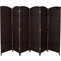 Oriental Furniture Six Panel Diamond Weave Fiber Room Divider in Black