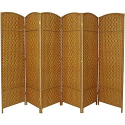 Oriental 6 Panel Diamond Weave Fiber Room Divider in Light Beige