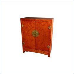 Oriental Furniture Burl Wood Cabinet with Matte Lacquer