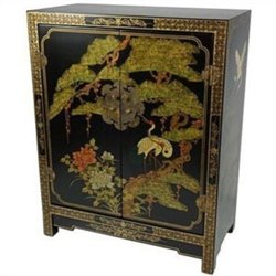 Oriental Furniture Black Lacquer Cabinet in Black Lacquer