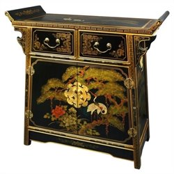 Oriental Furniture Lacquer Altar Cabinet in Gold Leaf