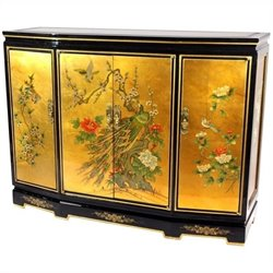 Oriental Furniture Gold Leaf Slant Front Cabinet in Gold Leaf