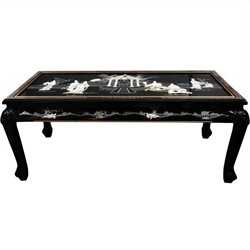 Oriental Furniture Claw Foot Coffee Table in Black Lacquer