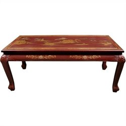 Oriental Furniture Claw Foot Coffee Table in Red Lacquer