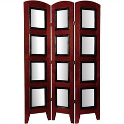 Oriental Furniture Three Panel Photo Shoji Screen in Rosewood