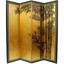 Oriental Furniture 5.5 feet Tall Gold Leaf Bamboo Room Divider