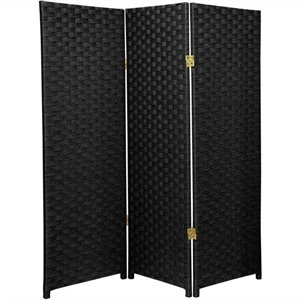 Oriental Furniture Three Panel Woven Fiber Room Divider in Black