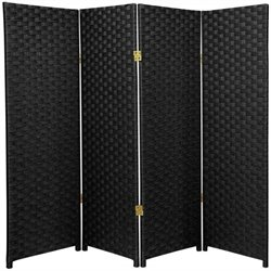 Oriental Furniture Four Panel Woven Fiber Room Divider in Black