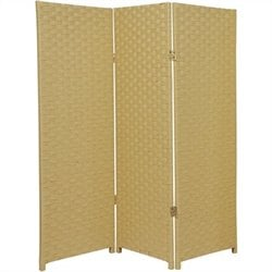 Oriental Furniture Three Panel Woven Fiber Room Divider in Dark Beige
