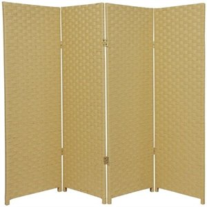 Oriental Furniture Four Panel Woven Fiber Room Divider in Dark Beige