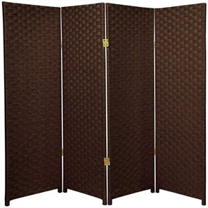 Oriental Furniture Four Panel Woven Fiber Room Divider in Dark Mocha