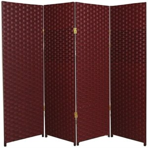 Oriental 4 Panel Woven Fiber Room Divider in Red and Black