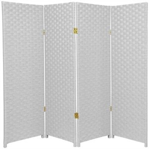Oriental Furniture Four Panel Woven Fiber Room Divider in White