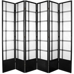 Oriental Furniture Six Panel Double Cross Shoji Screen in Black