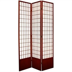 Oriental Furniture Three Panel Window Pane Shoji Screen in Rosewood