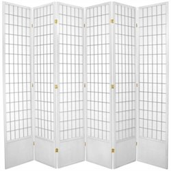 Oriental Furniture Six Panel Window Pane Shoji Screen in White