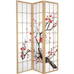 Oriental Furniture Three Panel Flower Blossom Room Divider in Natural