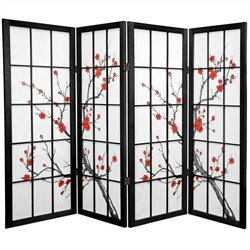 Oriental Furniture Four Panel Cherry Blossom Shoji Screen in Black
