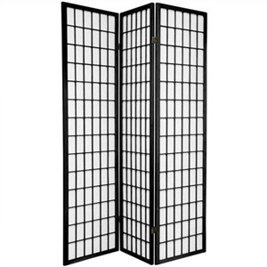 Oriental Furniture Window Pane Shoji Screen in Black