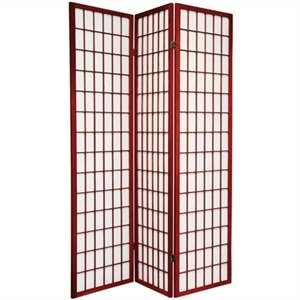 Oriental Furniture Window Pane Shoji Screen in Rosewood