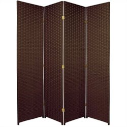 Oriental Furniture Woven Fiber Room Divider in Dark Mocha