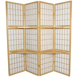 Oriental Furniture Window Pane with Shelf Room Divider in Natural
