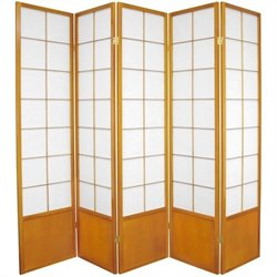 Oriental Furniture Five Panel Zen Shoji Room Divider in Honey