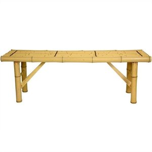 Oriental Furniture Japanese Bamboo Folding Bench in Light Natural